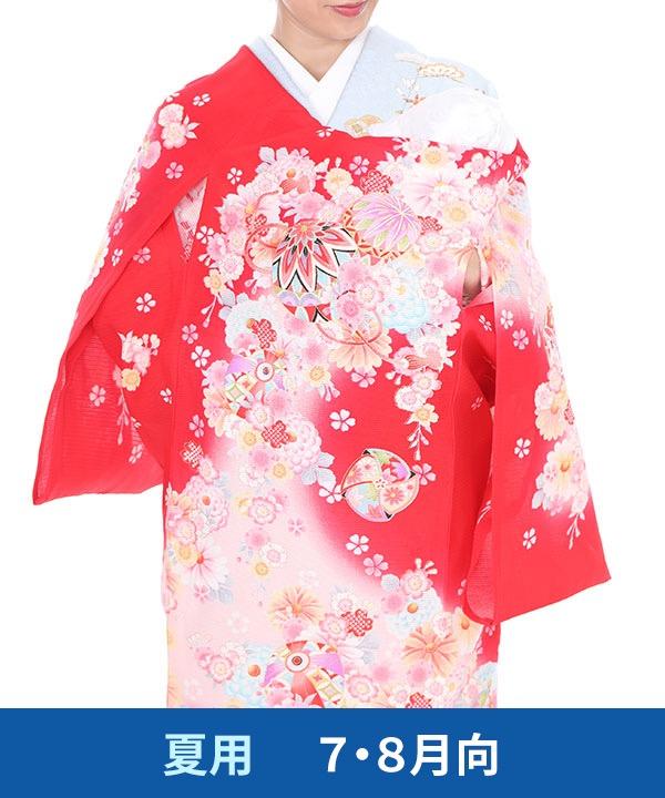 【夏用・7・8月向け】お宮参り産着レンタル 女の子 赤地に鞠と風車