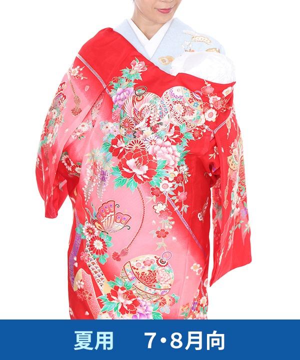 【夏用・7・8月向け】お宮参り産着レンタル 女の子 赤地に鈴と蝶