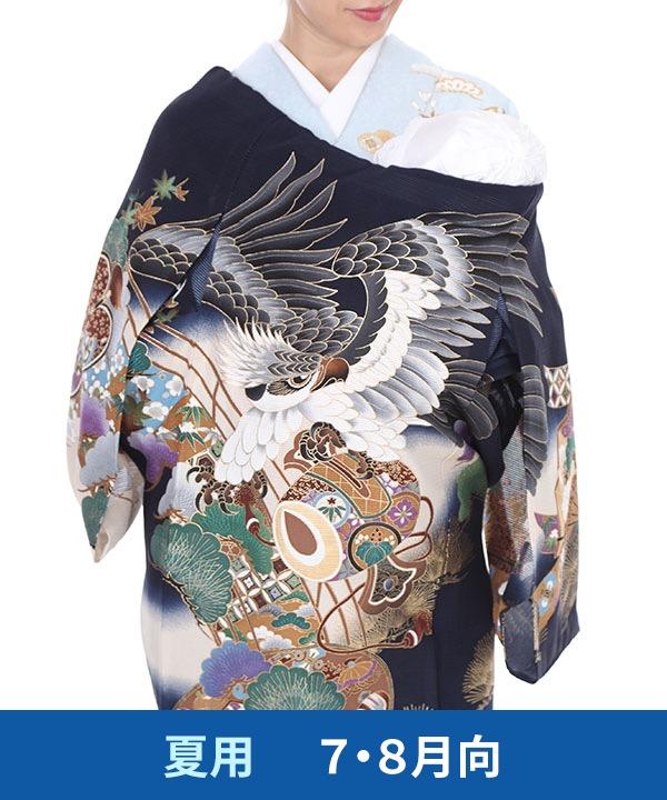【夏用・7・8月向け】お宮参り産着レンタル 男の子|紺地に鷹と打ち出の小槌