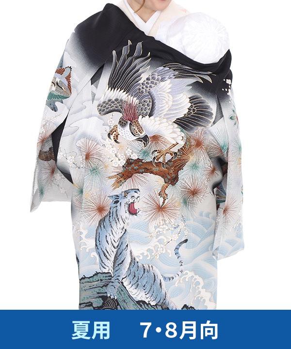 【夏用・7・8月向け】お宮参り産着レンタル 男の子|黒地に鷹と白虎