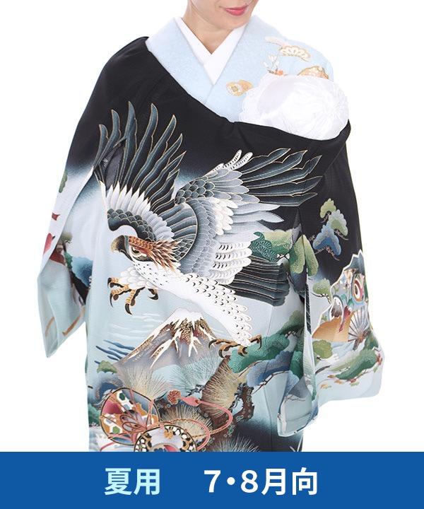 【夏用・7・8月向け】お宮参り産着レンタル 男の子|黒地に鷹と富士に松の木