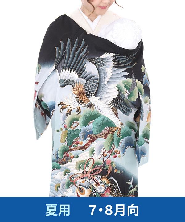 【夏用・7・8月向け】お宮参り産着レンタル 男の子|黒地に鷹と松の木に打ち出の小槌