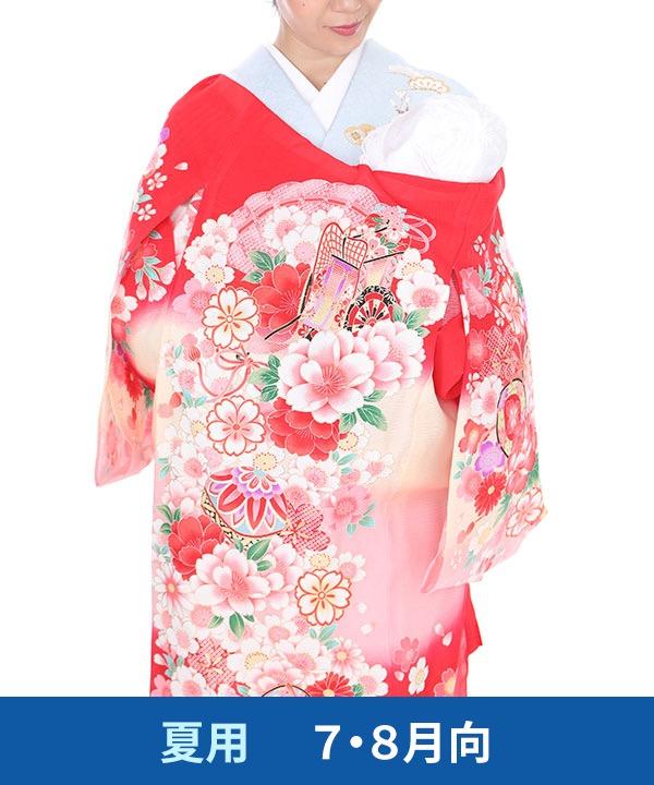 【夏用・7・8月向け】お宮参り産着レンタル 女の子 赤地に鞠と鈴に御所車