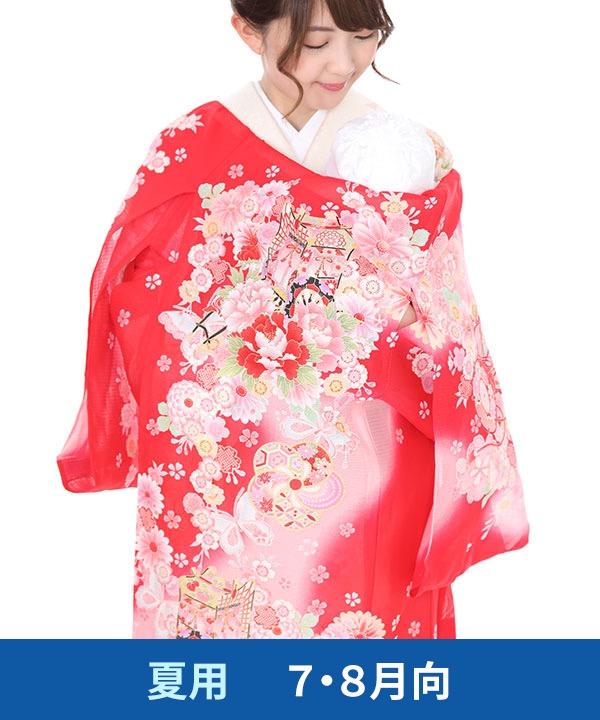 【夏用・7・8月向け】お宮参り産着レンタル 女の子 赤地に御所車と牡丹