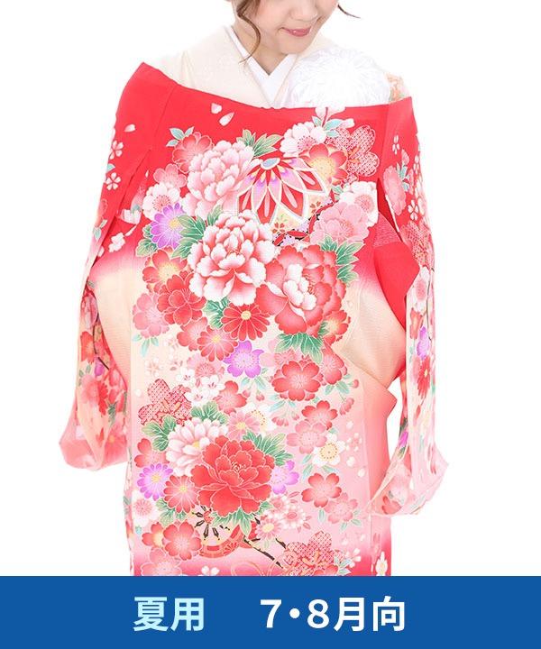 【夏用・7・8月向け】お宮参り産着レンタル 女の子 赤地に牡丹と鞠