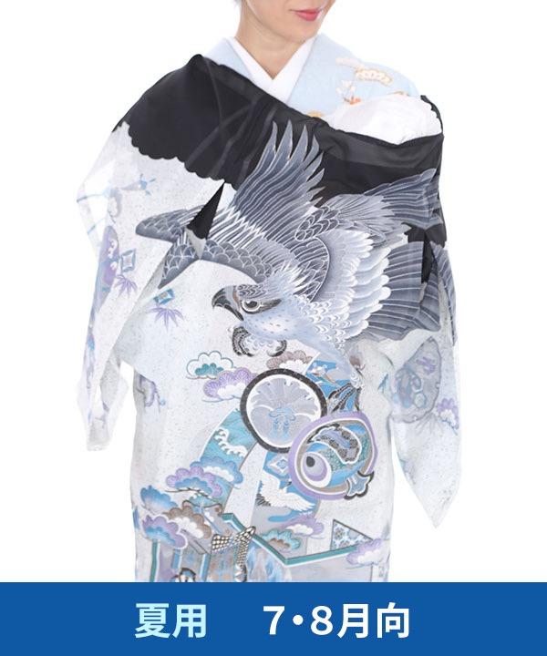 《SALE ¥7800→¥7480》【夏用・7・8月向け】お宮参り産着|黒地に鷹と屏風|U0093 男の子