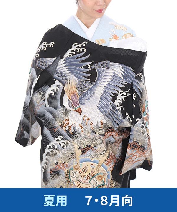 【夏用・7・8月向け】お宮参り産着レンタル 男の子|黒地に鷹と松・波