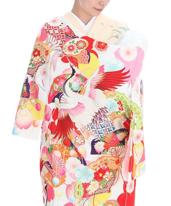 お宮参り産着|九重 白地に鶴・桜 ブランド|U0099 女の子
