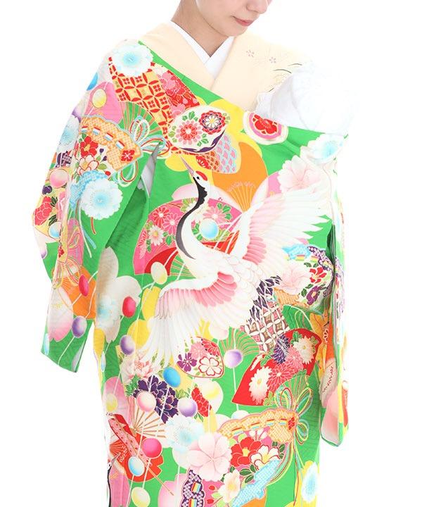 お宮参り産着レンタル 女の子 九重 黄緑地に鶴・桜 ブランド