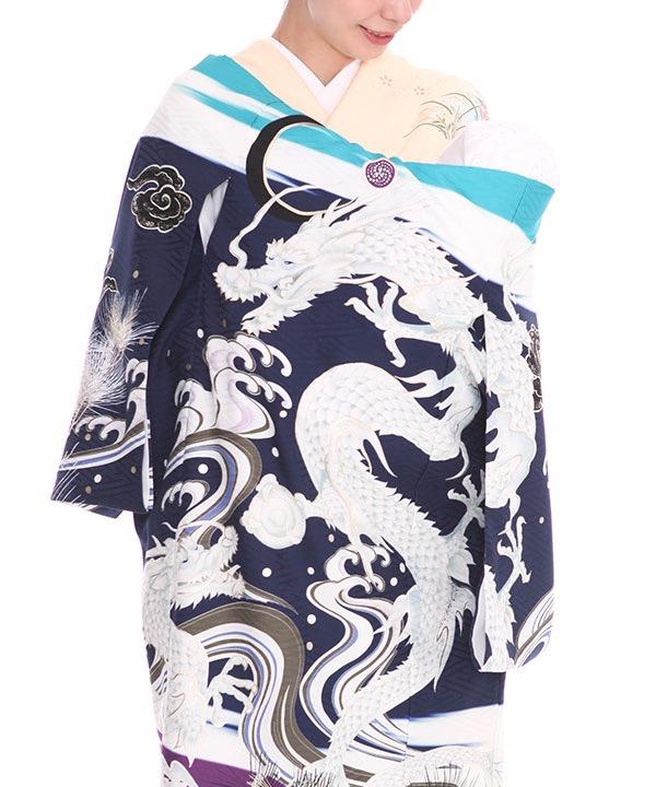 [SALE ¥9800→¥8800]お宮参り産着|九重 紺地に龍と波・松 ブランド|U0102 男の子