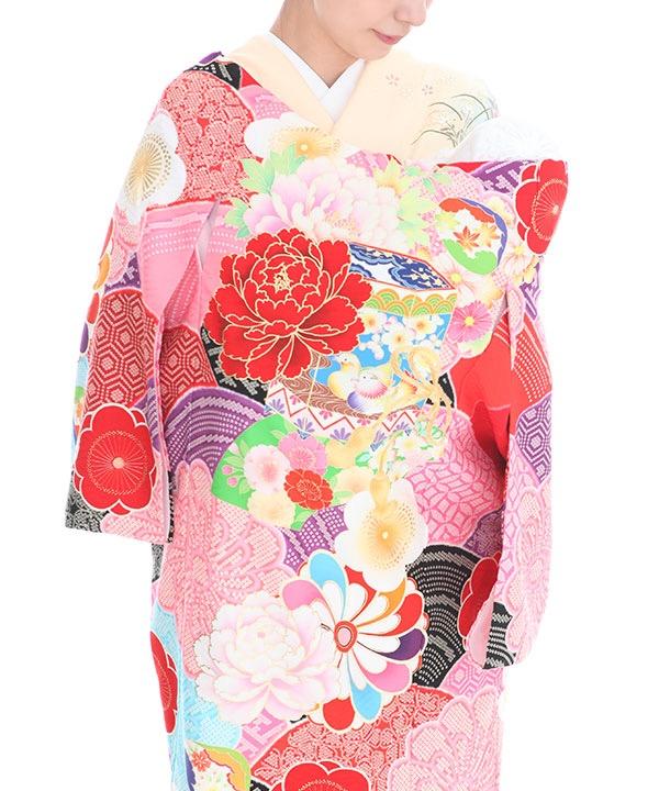 お宮参り産着レンタル 女の子 JAPAN STYLE 赤地に貝桶にねじり梅 ブランド