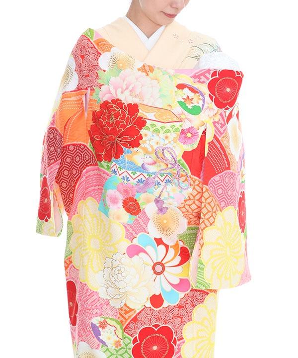 お宮参り産着|JAPAN STYLE ピンク地に貝桶にねじり梅 ブランド|U0104 女の子