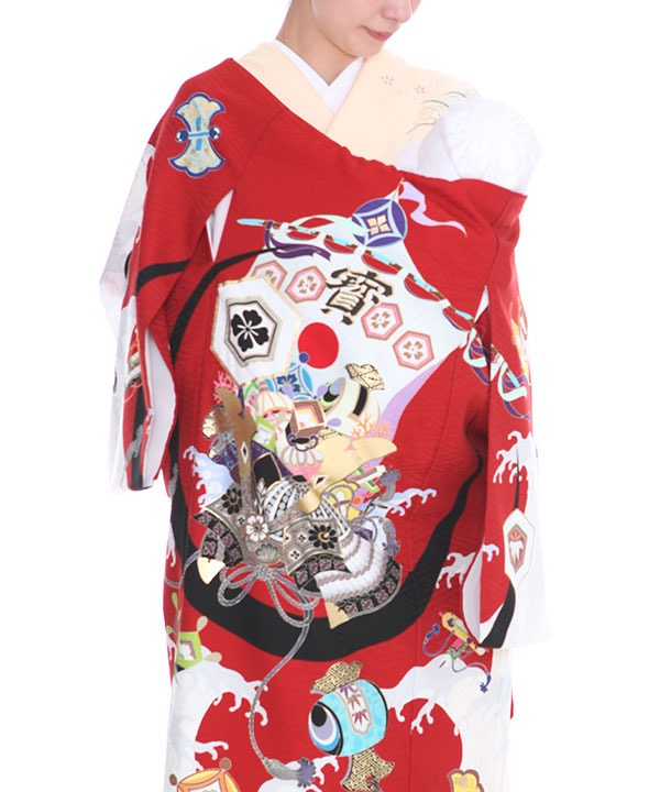 [SALE ¥9800→¥8800]お宮参り産着| JAPAN STYLE 赤地に寶船に兜 ブランド |U0105 男の子