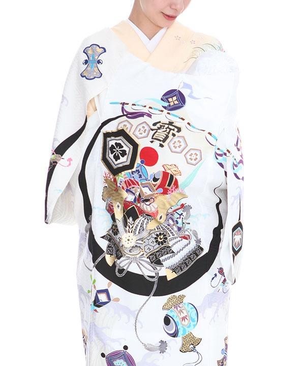 お宮参り産着| JAPAN STYLE 白地に寶船に兜 ブランド |U0106 男の子