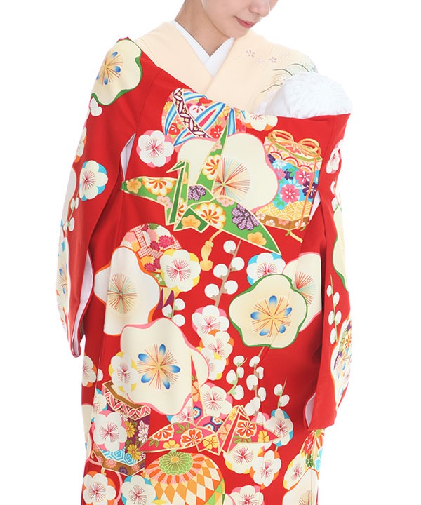 [SALE ¥9800→¥8800]お宮参り産着|芸艸堂 赤地に梅・折鶴 ブランド|U0109 女の子