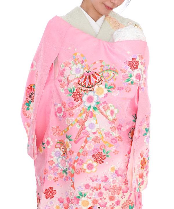 お宮参り産着|ピンク地に鞠や花輪|U0122 女の子