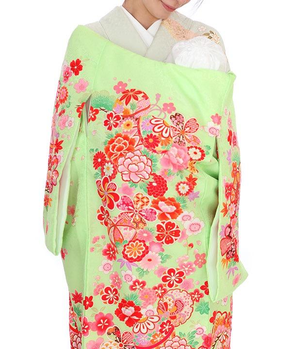 お宮参り産着|黄緑地に鞠や花々|U0124 女の子