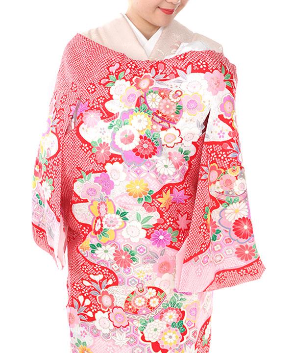 お宮参り産着レンタル 女の子|赤地に鈴や菊と桜 鹿の子模様