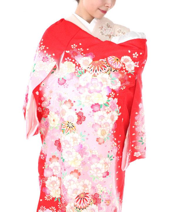 お宮参り産着レンタル 女の子|赤地に鞠や桜