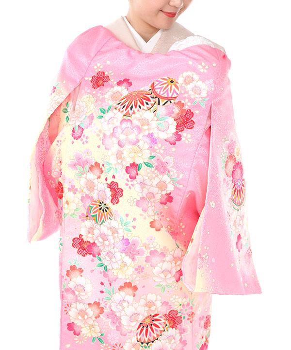お宮参り産着レンタル 女の子|ピンク地に鞠や桜