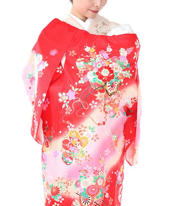 お宮参り産着レンタル1 女の子|赤地に花車や桜