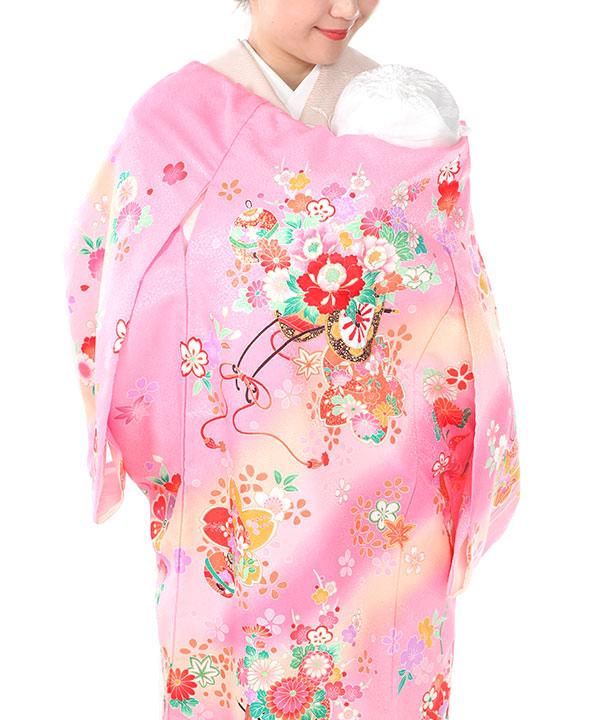 お宮参り産着レンタル 女の子|ピンク地に花車や桜