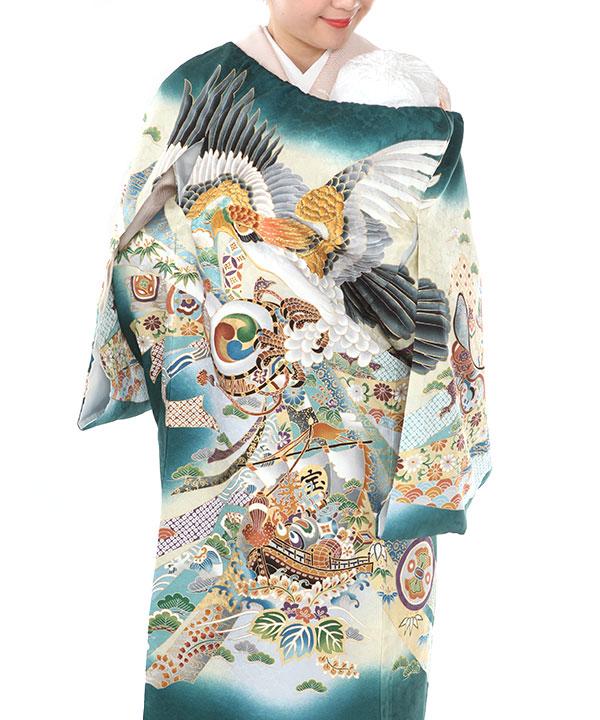 お宮参り産着レンタル 男の子 緑地に鷹と宝船に束ね熨斗