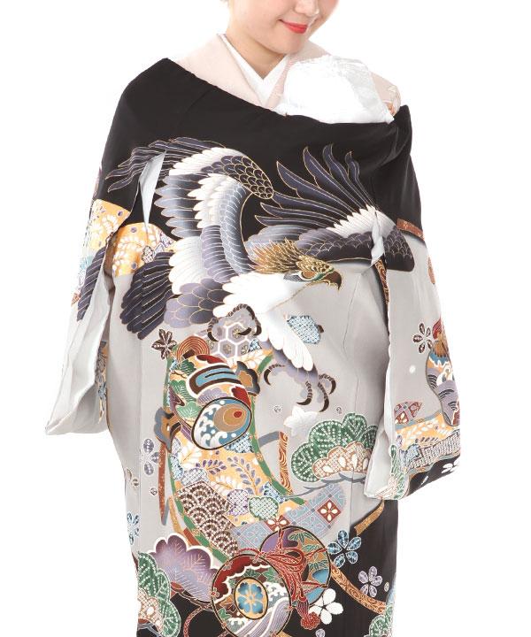 お宮参り産着レンタル 男の子|黒地に鷹や松に打ち出の小槌