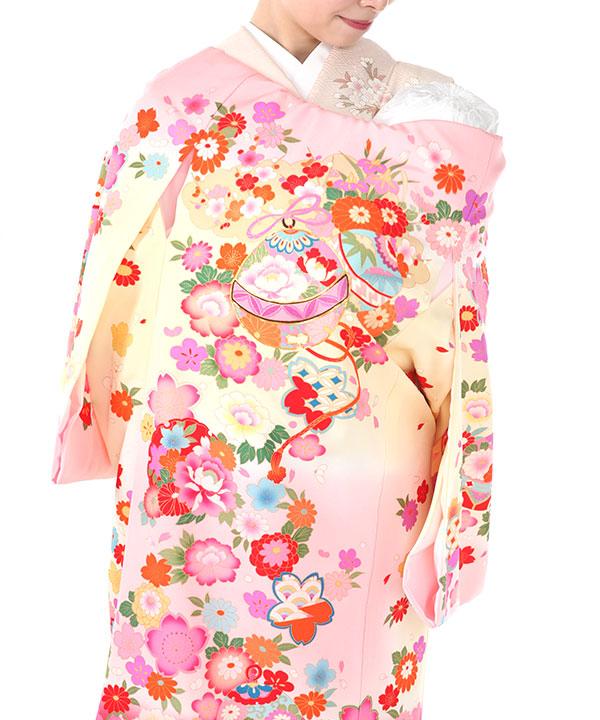 お宮参り産着レンタル 女の子|ピンク地に鈴と花模様