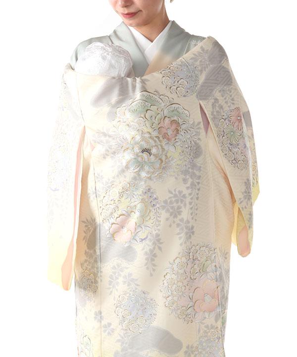 お宮参り産着レンタル 女の子  【NATURAL BEAUTY】 クリーム地に牡丹と椿 ブランド