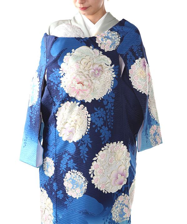 お宮参り産着レンタル 女の子 【NATURAL BEAUTY】 青地に牡丹と椿 ブランド