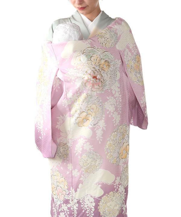 お宮参り産着レンタル 女の子 【NATURAL BEAUTY】 ピンク地に牡丹と椿 ブランド