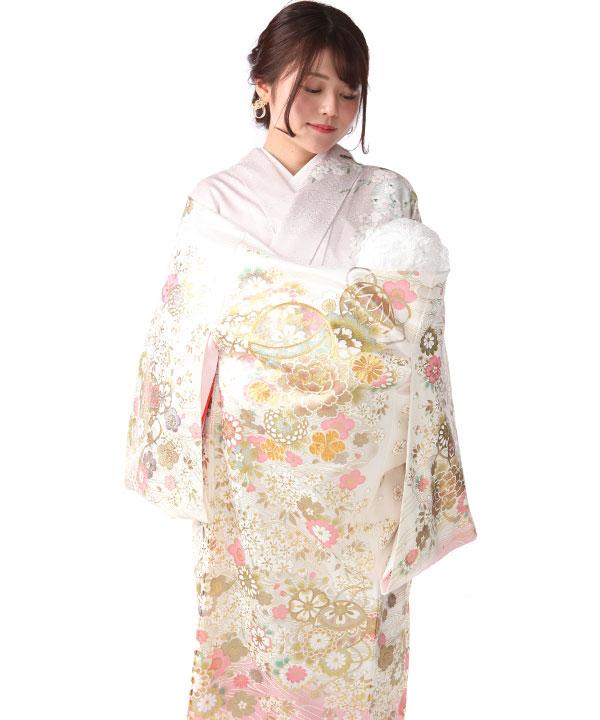 お宮参り産着レンタル 女の子 白地にピンク 鞠や桜  金彩金駒刺繍