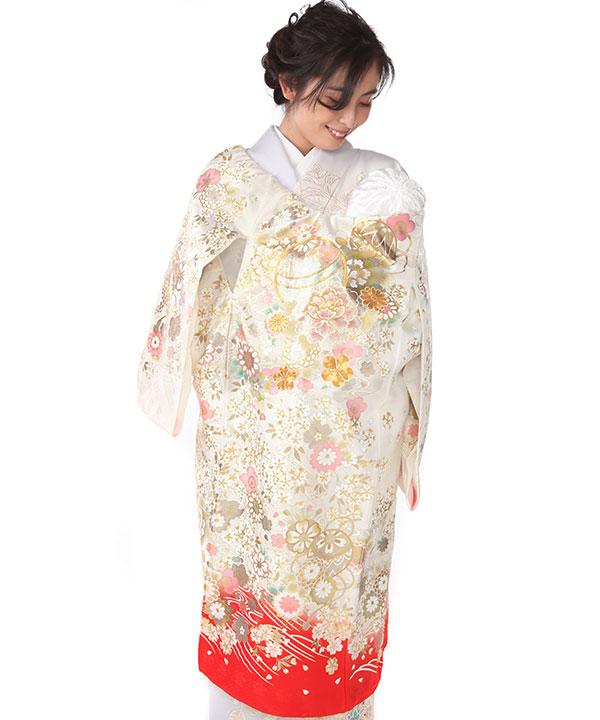 お宮参り産着レンタル 女の子 白地に赤 鞠や桜  金彩金駒刺繍