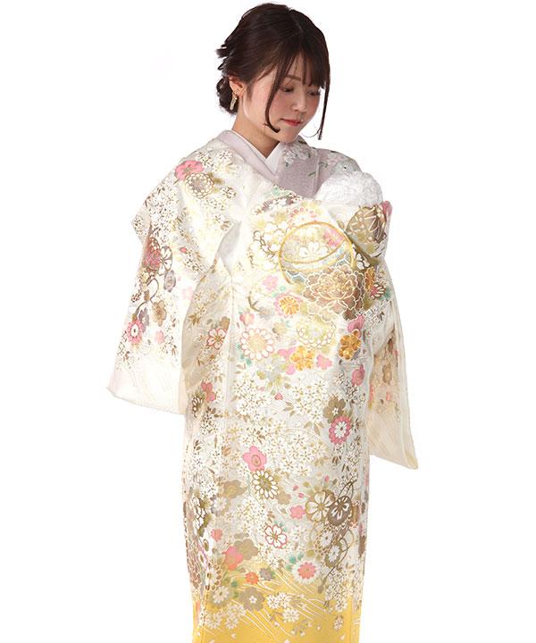 お宮参り産着|白地に黄色 鞠や桜  金彩金駒刺繍|U0160 女の子