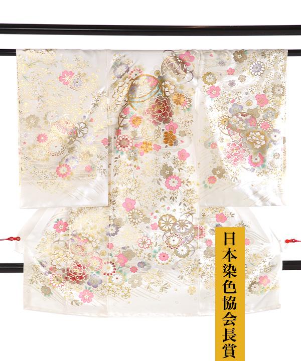 お宮参り産着|【日本染色協会長賞】白地 鞠や桜  金彩金駒刺繍|U0161 女の子