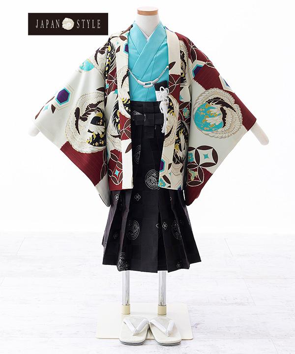 七五三(三歳男の子)着物レンタル|【JAPAN STYLE×松坂大輔】鷹に七宝柄羽織 水色着物×黒袴