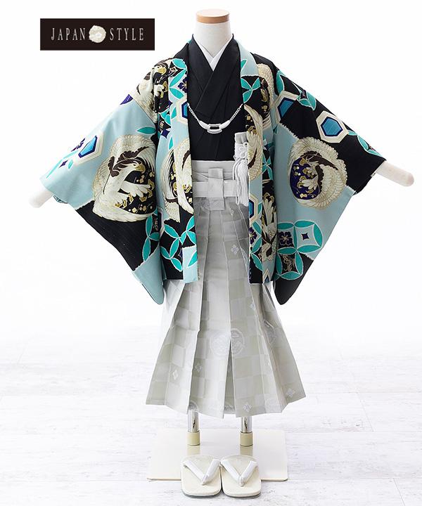 七五三(三歳) 【JAPAN STYLE×松坂大輔】鷹に七宝柄羽織 黒着物×紺袴 W-B-3-24