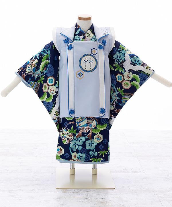 七五三(三歳) 【乙葉】吉祥文様柄の紺着物×水色被布 W-B-3-30