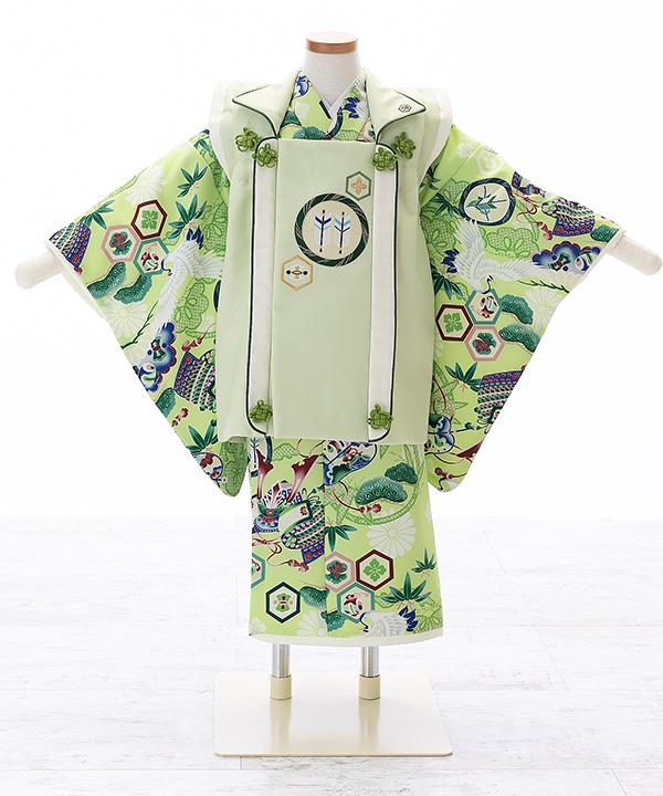 七五三(三歳男の子)着物 【乙葉】吉祥文様柄の黄緑色着物×パステルグリーン被布