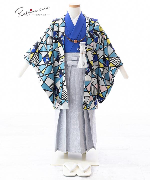 七五三(五歳男の子)着物レンタル 【ラフィネココ】ステンドグラス柄羽織 青着物×グレー袴