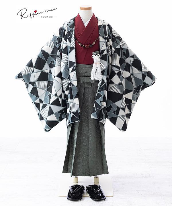 七五三(五歳男の子)着物レンタル 【ラフィネココ】ステンドグラス柄羽織 赤着物×緑袴