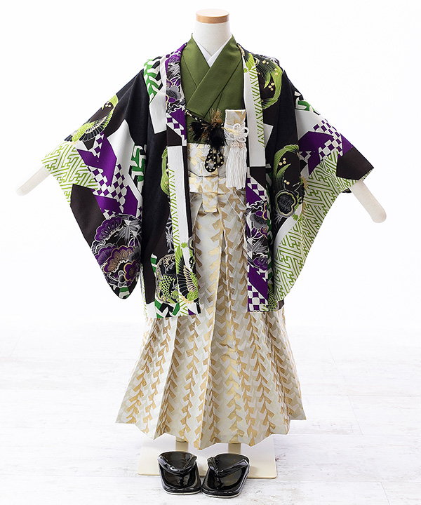 七五三(五歳男の子)着物レンタル 【榛原】幾何学文様柄羽織 緑着物×金袴