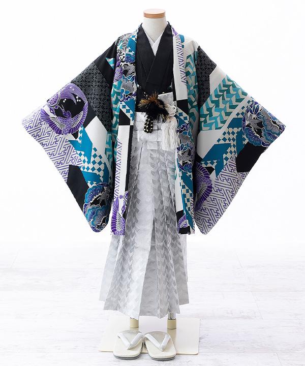 七五三(五歳男の子)着物レンタル|【榛原】幾何学文様柄羽織 黒着物×銀袴