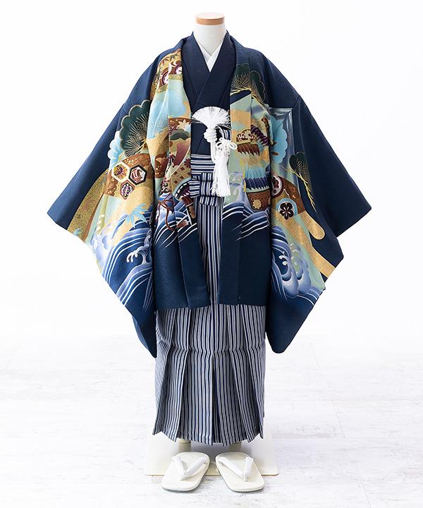 七五三(五歳男の子)着物レンタル 富士に馬と武将柄羽織 紺着物×紺袴