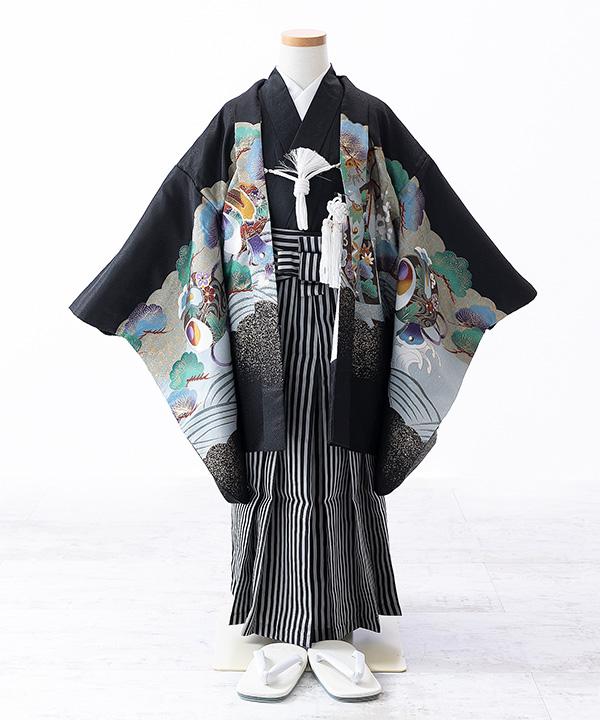 七五三(五歳男の子)着物レンタル 兜柄羽織 黒着物×黒袴