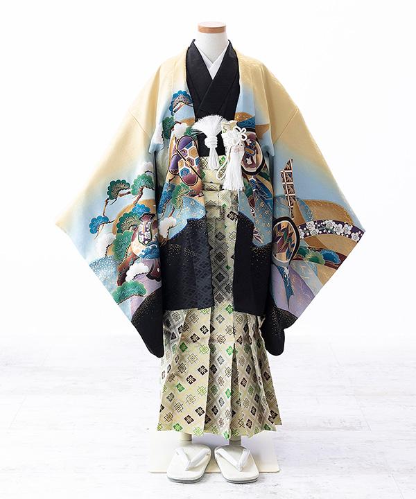 七五三(五歳男の子)着物レンタル|兜柄羽織 黒着物×クリーム袴