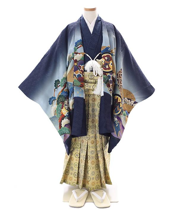 七五三(五歳男の子)着物|兜柄羽織 紺着物×金袴