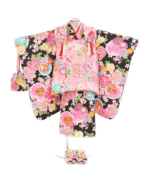 七五三(三歳女の子)着物レンタル|牡丹に貝合わせ柄黒着物×ピンク被布