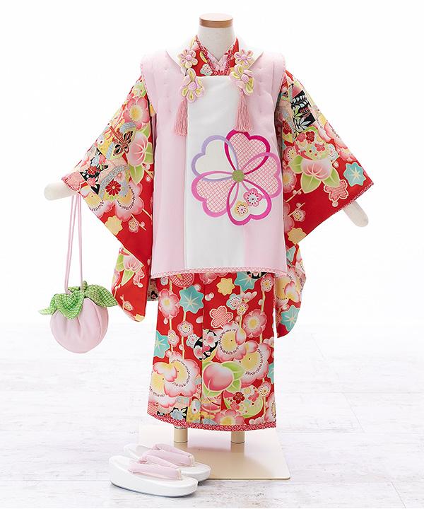 七五三(三歳女の子)着物レンタル 【乙葉】赤着物×ピンク被布